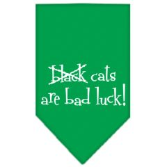 Dog Bandanas: Screen Print Cotton Dog Bandana 'BLACK CATS ARE BAD LUCK!' Different Colors in Small or Large by Mirage USA