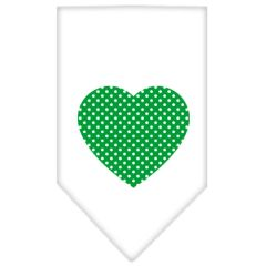 Dog Bandanas: Screen Print Cotton Dog Bandana 'GREEN SWISS DOT HEART' Different Colors in Small or Large by Mirage USA