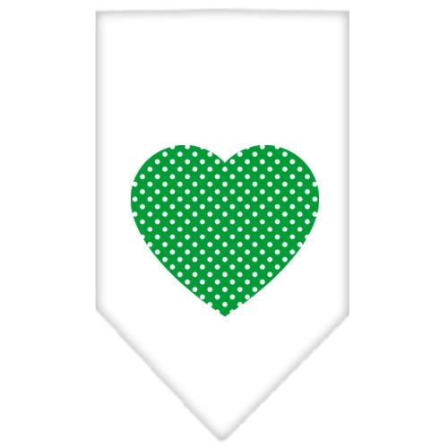Dog Bandanas: Screen Print Cotton Dog Bandana 'GREEN SWISS DOT HEART' Different Colors in Small or Large