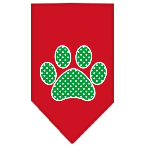 Dog Bandanas: Screen Print Cotton Dog Bandana 'GREEN SWISS DOT PAW' Different Colors in Small or Large