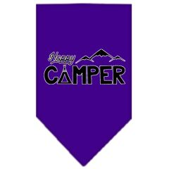Dog Bandanas: Screen Print Cotton Dog Bandana 'HAPPY CAMPER' Different Colors in Small or Large by Mirage USA