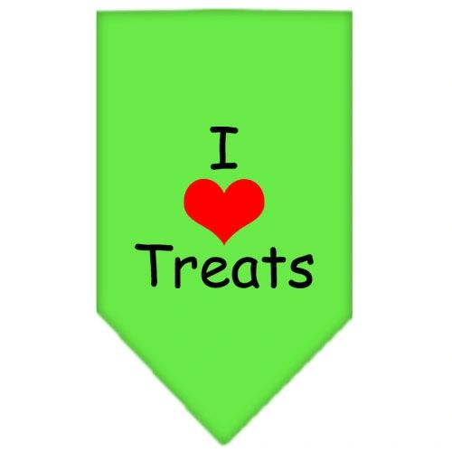 Dog Bandanas: Screen Print Cotton Dog Bandana 'I HEART TREATS' in Various Colors