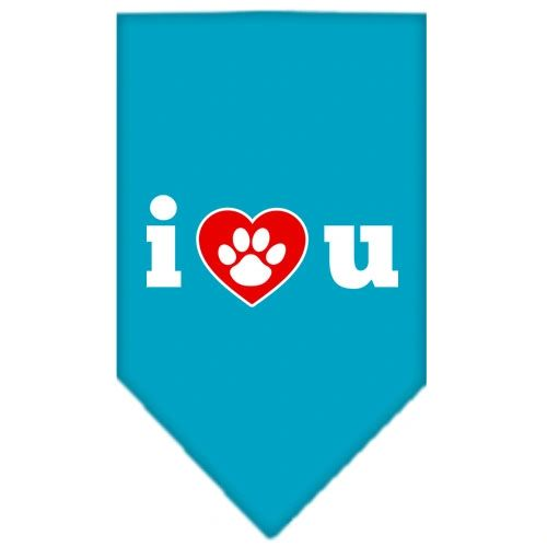 Dog Bandanas: Screen Print Cotton Dog Bandana 'I LOVE U' in Various Colors
