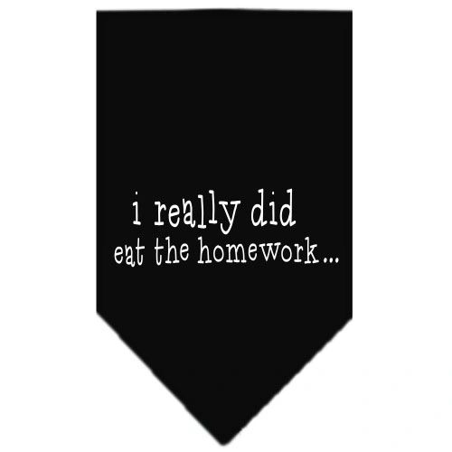Dog Bandanas: Screen Print Cotton Dog Bandana 'I REALLY DID EAT THE HOMEWORK' in Various Colors