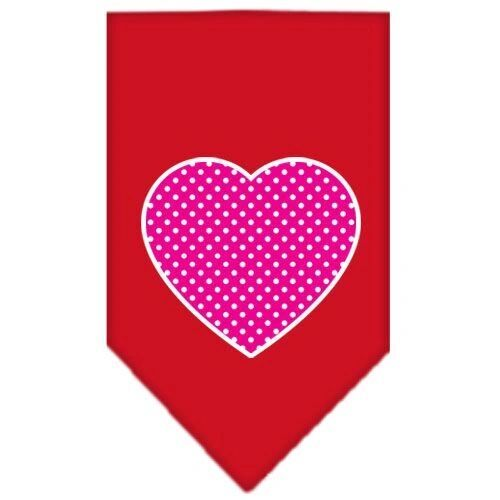 Dog Bandanas: Screen Print Cotton Dog Bandana 'PINK SWISH DOT HEART' Different Colors in Small or Large by Mirage USA
