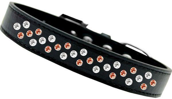 DOG COLLARS: Halloween Jewel Sprinkle Halloween STRIPES Design on Black Collar by Mirage Made in USA