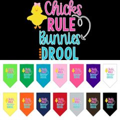 Dog Bandanas: Easter Tie On Bandana Screen Print Large or Small Mirage Pet Products USA - CHICKS RULE BUNNIES DROOL