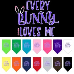 Dog Bandanas: Easter Tie On Bandana Screen Print Large or Small Mirage Pet Products USA - 'EVERY BUNNY LOVES ME'