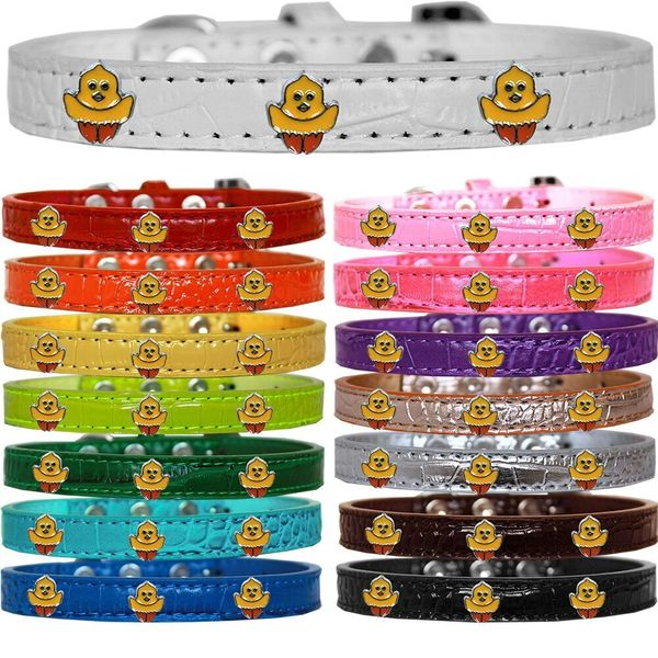 Dog Collars: Cute Easter Croc Dog Collar with Easter Chickadee Widgets Different Colors & Sizes. Made in USA