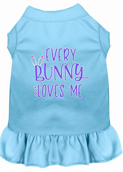 DOG DRESSES: Easter Dog Dress EVERY BUNNY LOVES ME Screen Print in Different Sizes & Colors
