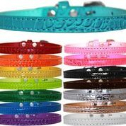 Dog Collars: OMAHA Faux Croc Dog Collar for Smaller Dogs in 4 Different Sizes & 15 Color Choices. Made in USA