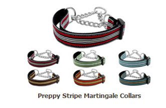 MARTINGALE DOG COLLAR: Nylon Ribbon Dog Collar PREPPY STRIPES - Matching Leash Sold Separately