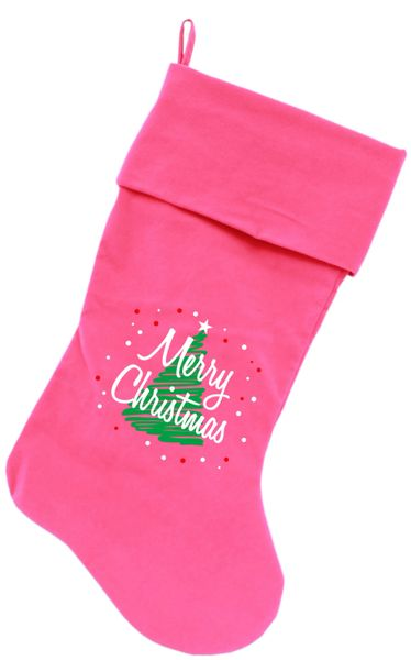 Dog Christmas Stockings: Screen Print Scribbled MERRY CHRISTMAS Christmas Stocking for Dogs in Several Colors