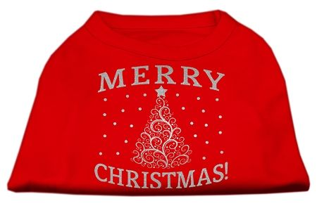 Dog Shirts: SHIMMER CHRISTMAS TREE Screen Print Dog Shirt in Various Colors & Sizes by Mirage