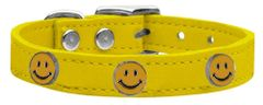 Dog Collars: Cool Dog Collars with Cute HAPPY FACE Widgets Genuine Leather Dog Collar in Different Colors and Sizes