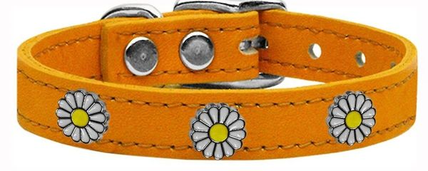 Dog Collars: Cool Dog Collars with Cute WHITE DAISY Widgets Genuine Leather Dog Collar in Different Colors and Sizes by Mirage USA