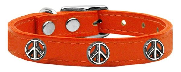 Dog Collars: Cool Dog Collars with Cute PEACE SIGN Widgets Genuine Leather Dog Collar in Different Colors and Sizes by Mirage USA