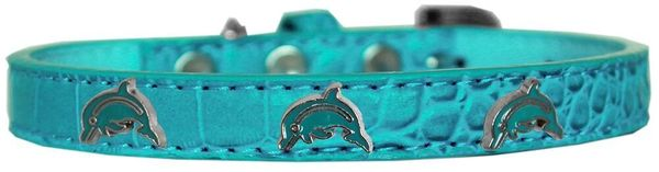 Dog Collars: Cute Dog Collars with Cute DOLPHIN Widgets on Croc Dog Collar in Different Colors and Sizes by Mirage USA