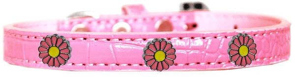 Dog Collars: Cute Dog Collar with PINK DAISY Widgets on Croc Dog Collar in various Sizes & Colors