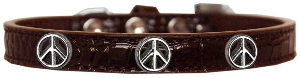 Dog Collars: Cute Dog Collar with PEACE SIGN Widgets on Croc Dog Collar in Various Colors & Sizes
