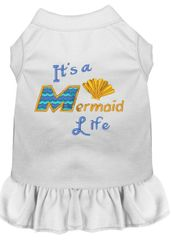 DOG DRESSES: Embroidered Dog Dress IT'S A MERMAID LIFE in 7 Different Solid Colors & Sizes 10 (Sm) - 22 (4X) Made in USA