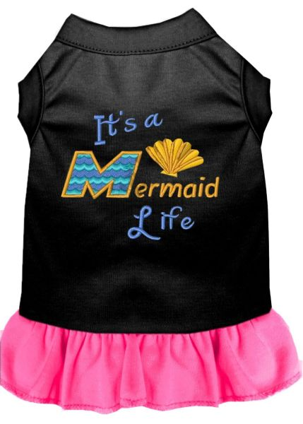 DOG DRESSES: Embroidered Dog Dress IT'S A MERMAID LIFE in 4 Different Mixed Colors & Sizes 10 (Sm) - 20 (3X) Made in USA
