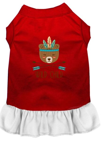 DOG DRESSES: Embroidered Dog Dress WILD CHILD in 4 Different Mixed Colors & Sizes 10 (Sm) - 20 (3X) Made in USA