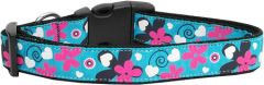 Nylon Ribbon Dog Collar/Cat Collar - AQUA LOVE in Various Sizes with Durable Harware - Matching Leash Sold Separately