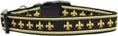 Holiday Dog Collars: Nylon Ribbon Dog Collar - BLACK AND GOLD FLEUR DE LIS