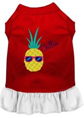 DOG DRESSES: Embroidered PINEAPPLE CHILLIN' Dog Dress in 4 Different Mixed Colors & Sizes 10 (Sm) - 20 (3X) Made in USA