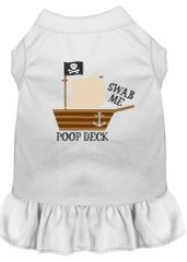 DOG DRESSES: Embroidered Dog Dress POOP DECK in 7 Different Solid Colors & Sizes 10 (Sm) - 22 (4X) Made in USA