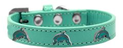 Dog Collars: Cute Dog Collar with DOLPHIN Widgets on Premium Vegan Leather Dog Collar in Different Colors & Sizes