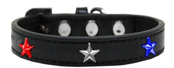 Dog Collars: Cute Dog Collar with Red, White, & Blue STAR Widgets on Premium Vegan Leather Collar in Various Colors & Sizes