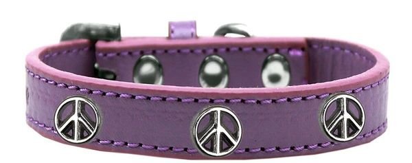 Dog Collars: Cute Dog Collar with PEACE SIGN Widgets on Premium Vegan Leather Dog Collar in Different Colors & Sizes