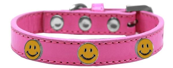 Dog Collars: Cute Dog Collar with HAPPY FACE Widgets on Premium Vegan Leather Dog Collar in Various Colors & Sizes
