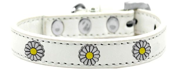 Dog Collars: Cute Dog Collar with WHITE DAISY Widgets in Various Colors & Sizes