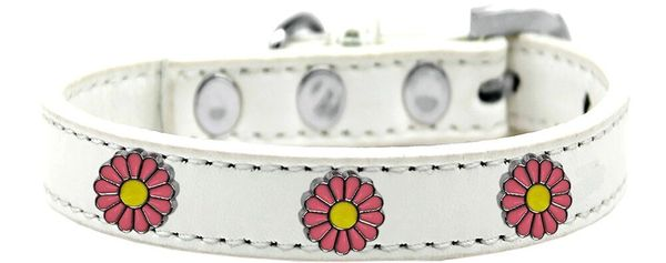Dog Collars: Cute Dog Collar with PINK DAISY Widgets Dog Collar in Various Colors & Sizes