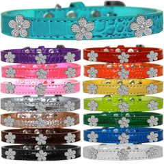 Dog Collars: Cute Croc Dog Collar with SILVER FLOWER Widgets in Different Colors & Sizes USA