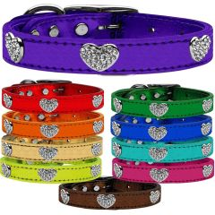 Dog Collars: CLEAR CRYSTAL HEARTS on Metallic Leather Dog Collar in Different Colors & Sizes Made in USA by MiragePetProducts
