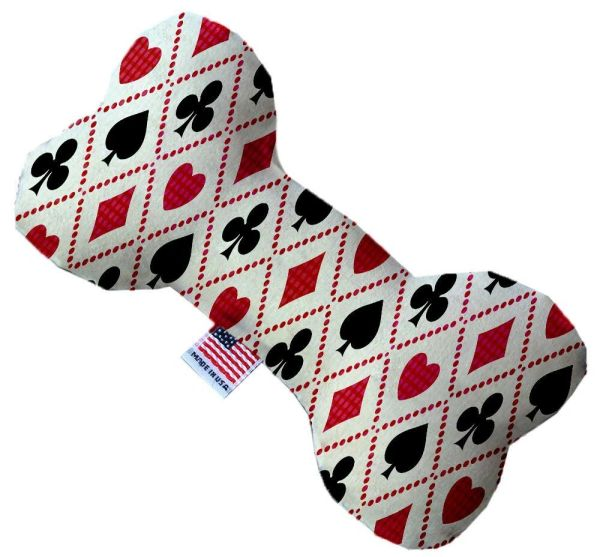 PET TOYS: Soft Durable Fabric or Canvas Bone Shape Pet Toy in 3 Sizes - DECK OF CARDS