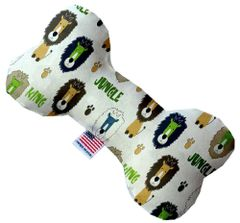 PET TOYS: Soft Durable Fabric or Canvas Bone Shape Pet Toy in 3 Sizes Made in USA by MiragePetProducts - KING OF THE JUNGLE