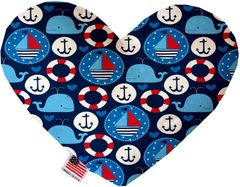 PET TOYS: Soft Velvety Fabric or Canvas Heart Shape Pet Toy ANCHORS AWAY 2 Sizes Made in USA by MiragePetProducts