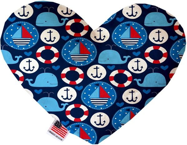 PET TOYS: Soft Velvety Fabric, Canvas, or Stuffing Free Heart Shape Pet Toy ANCHORS AWAY 2 Sizes