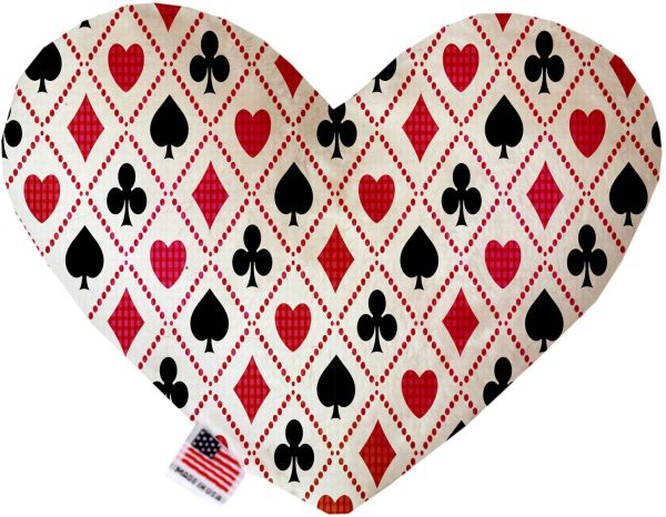 PET TOYS: Soft Velvety Fabric, Canvas, or Stuffing Free Heart Shape Pet Toy DECK OF CARDS in Two Sizes