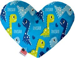 PET TOYS: Soft Velvety Fabric or Canvas Heart Shape Pet Toy BLUE DINOSAURS in Two Sizes Made in USA by MiragePetProducts