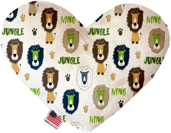 PET TOYS: Soft Velvety Fabric, Canvas, or Stuffing Free Heart Shape Pet Toy KING OF THE JUNGLE in Two Sizes
