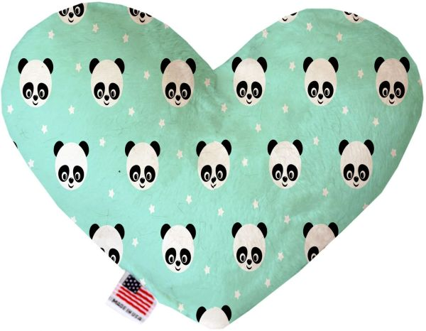 PET TOYS: Soft Velvety Fabric, Canvas, or Stuffing Free Heart Shape Pet Toy HAPPY PANDAS in Two Sizes
