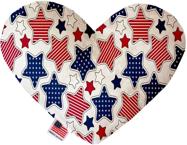 PET TOYS: Soft Velvety Fabric, Canvas, or Stuffing Free Heart Shape Pet Toy PATRIOTIC STARS in Two Sizes