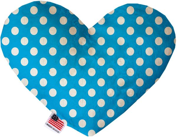 PET TOYS: Soft Velvety Fabric, Canvas, or Stuffing Free Heart Shape Pet Toy SWISS DOTS in 9 Colors & 2 Sizes