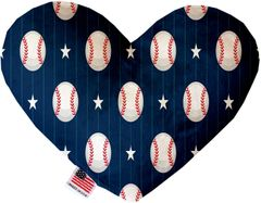 PET TOYS: Soft Velvety Fabric or Canvas Heart Shape Pet Toy BASEBALL PINSTRIPES in Two Sizes Made in USA by MiragePetProducts